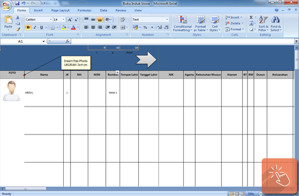 Aplikasi Buku Induk Siswa dengan Microsoft Excel