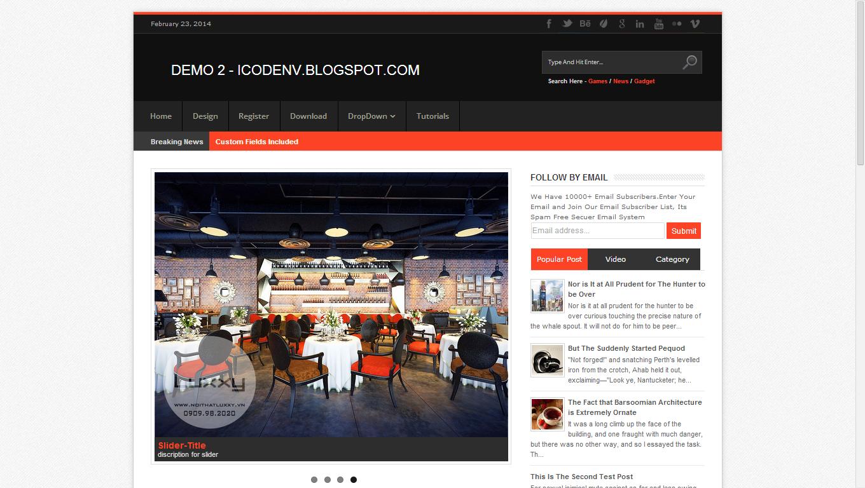 Chia sẻ Template Blogspot tin tức Responsive đẹp