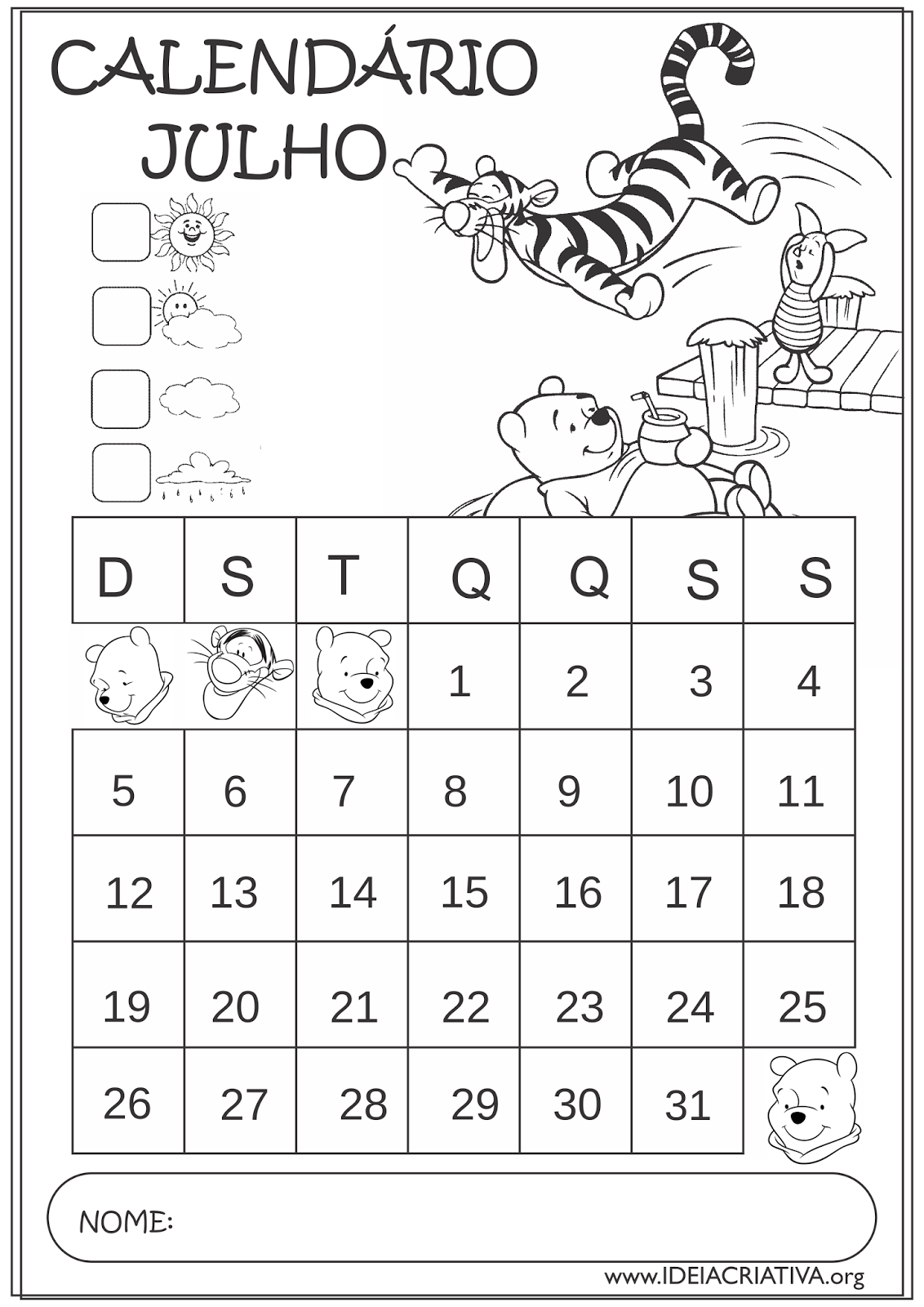 Calendários Julho 2015 Turma do Pooh Educação Infantil