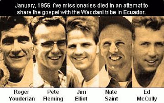 These men were killed by tribesmen whom they were trying to reach for the gospel... There were no crowds at their funeral, there were crowds cheering when they reached heaven...
