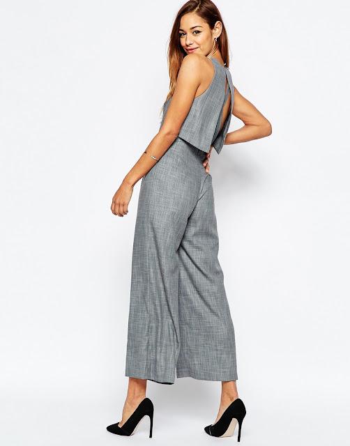 cross back jumpsuit, grey culotte jumpsuit,