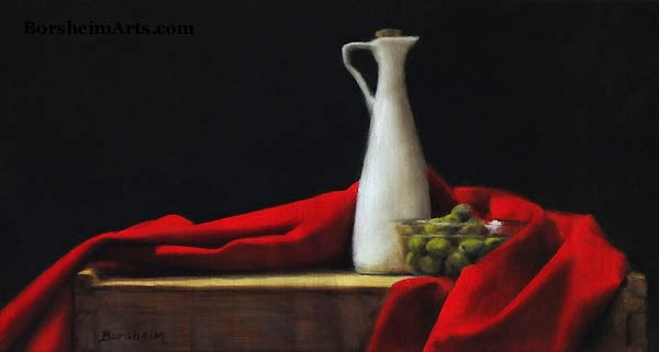 oil painting of red cloth and white porcelain vase, with bowl of olives art
