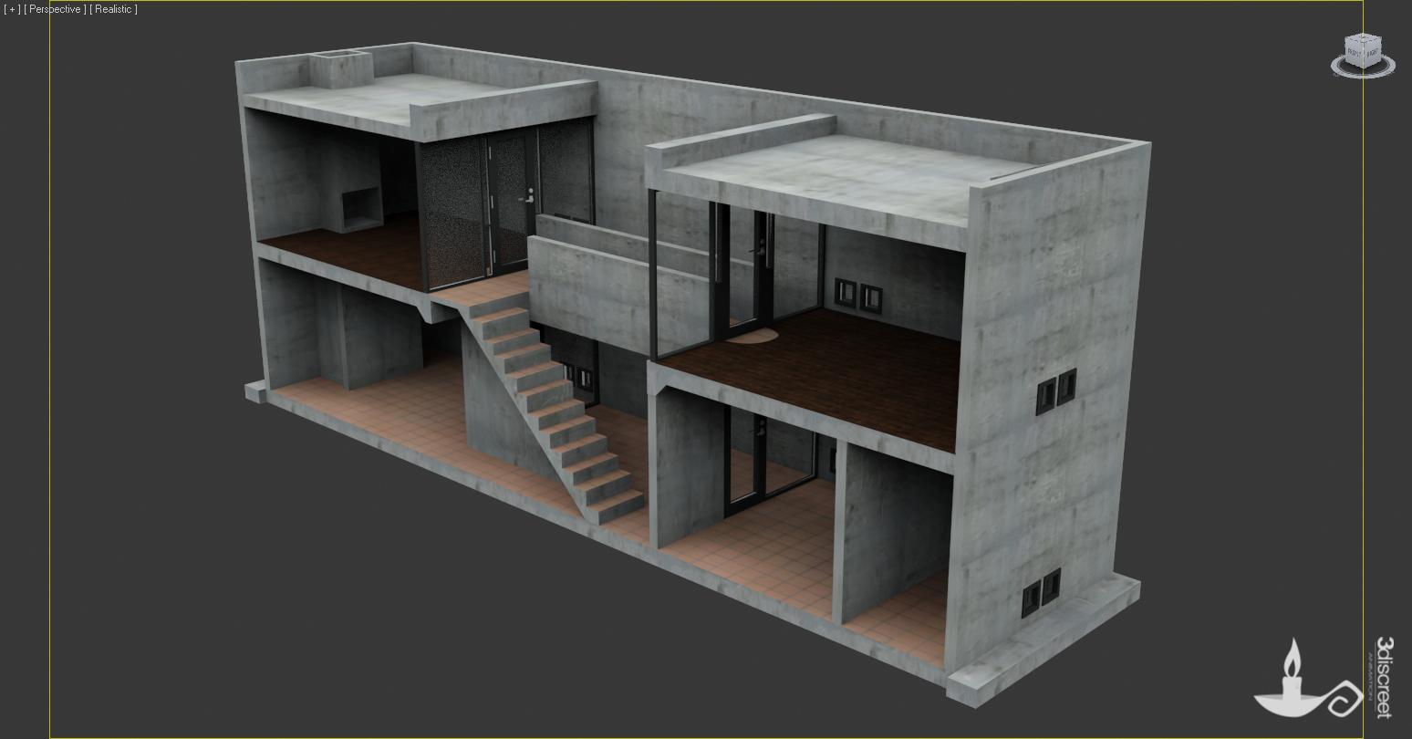 3discreet Tadao Ando S Row House