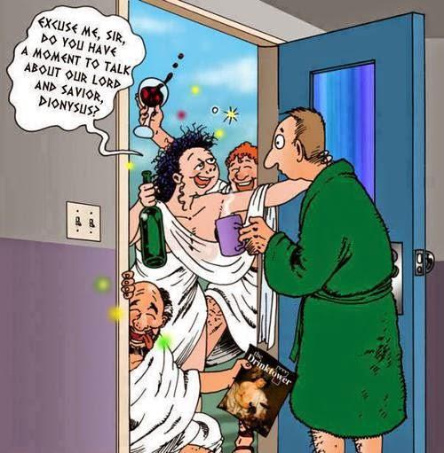 Funny Dionysus Door Evangelism Drunks Cartoon
