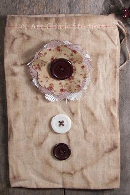 Grungy Button Bag Primitive Crafts