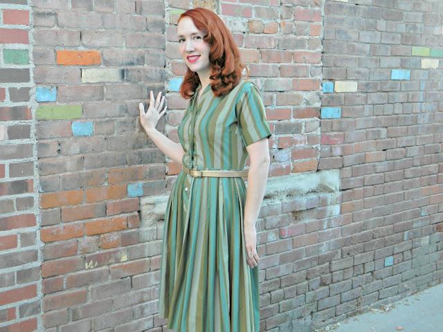 1960s Jean Sutton Casuals dress green striped shirt waist Just Peachy, Darling