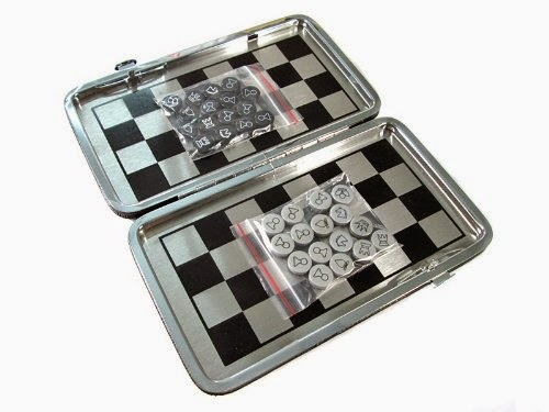 Game Chess ,portable , Aluminum mini chess with leather case, best gift for chess lover