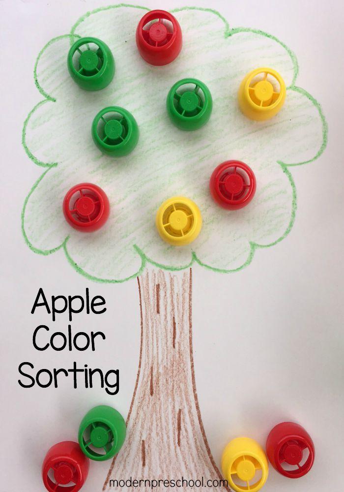 Apple Color Sorting Activity on Preschool I Spy Book