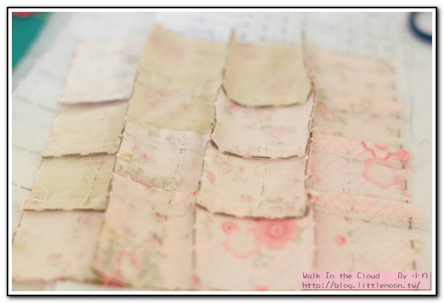 婚戒壁飾 - 車縫橫向固定,注意縫份要交錯