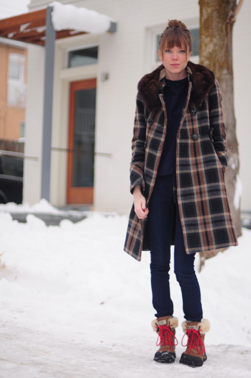 Plaid Coat and Ugg Adirondack Boot