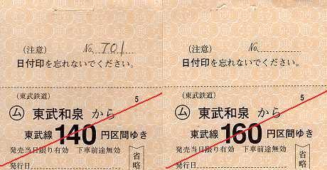 東武鉄道 常備軟券乗車券22 伊勢崎線 東武和泉駅