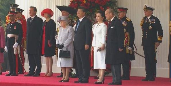 Queen Elizabeth II and Prince Philip, Duke of Edinburgh, Prince Charles, Prince of Wales and Camilla, Duchess of Cornwall, Chinese President Xi Jinping and Peng Liyuan