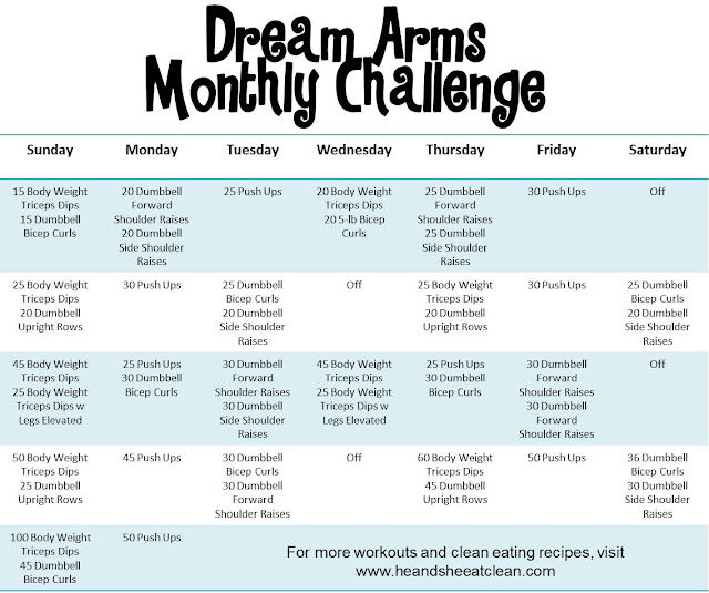 Monthly Challenge :: Dream Arms Challenge ~ He and She Eat Clean