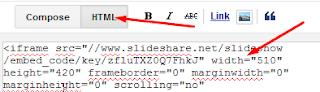 paste kode ke postingan dengan mode HTML
