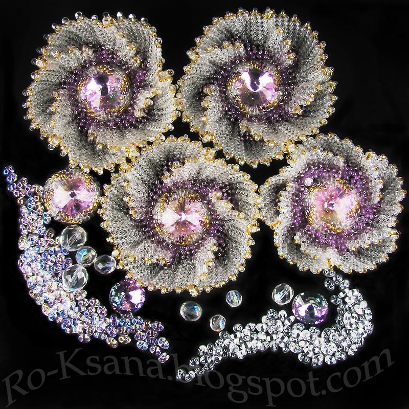 """""""Lace Dew"""" spiral flowers Спиральные цветы из бисера """"Кружевная роса"""""""