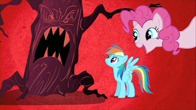 Pinkie and Dash giggling at the ghostly