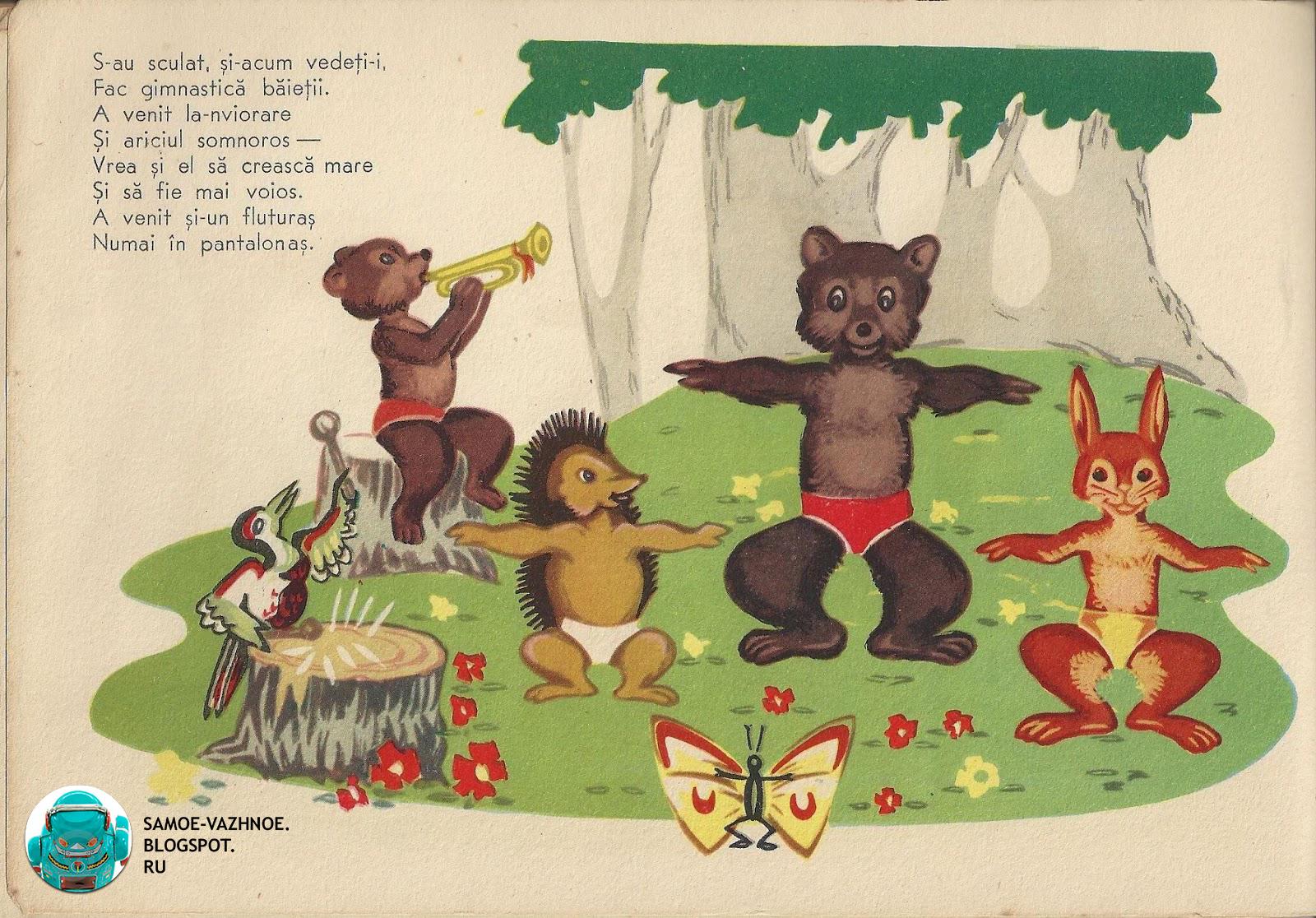 Советская книга животные звери делают зарядку СССР