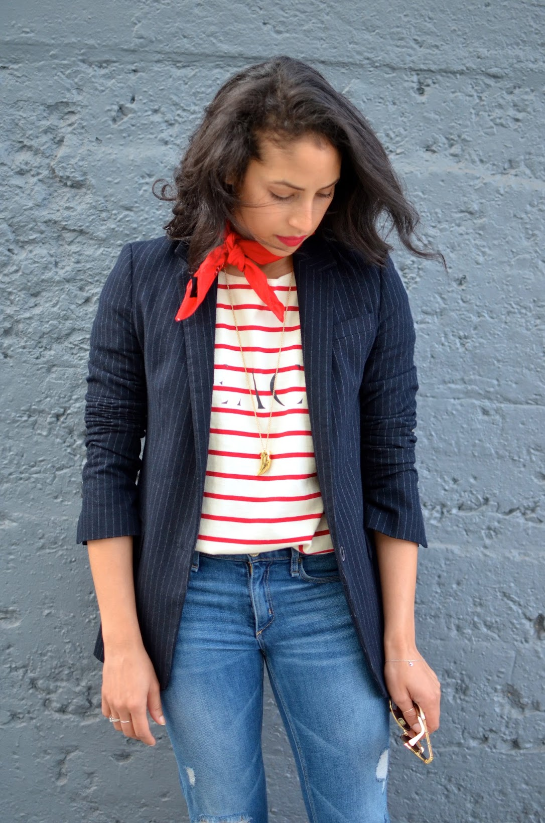 OOTD, SF style, flares, denim flares, McGuire Marjorelle flares, striped Madewell top, red bandana, neck scarf