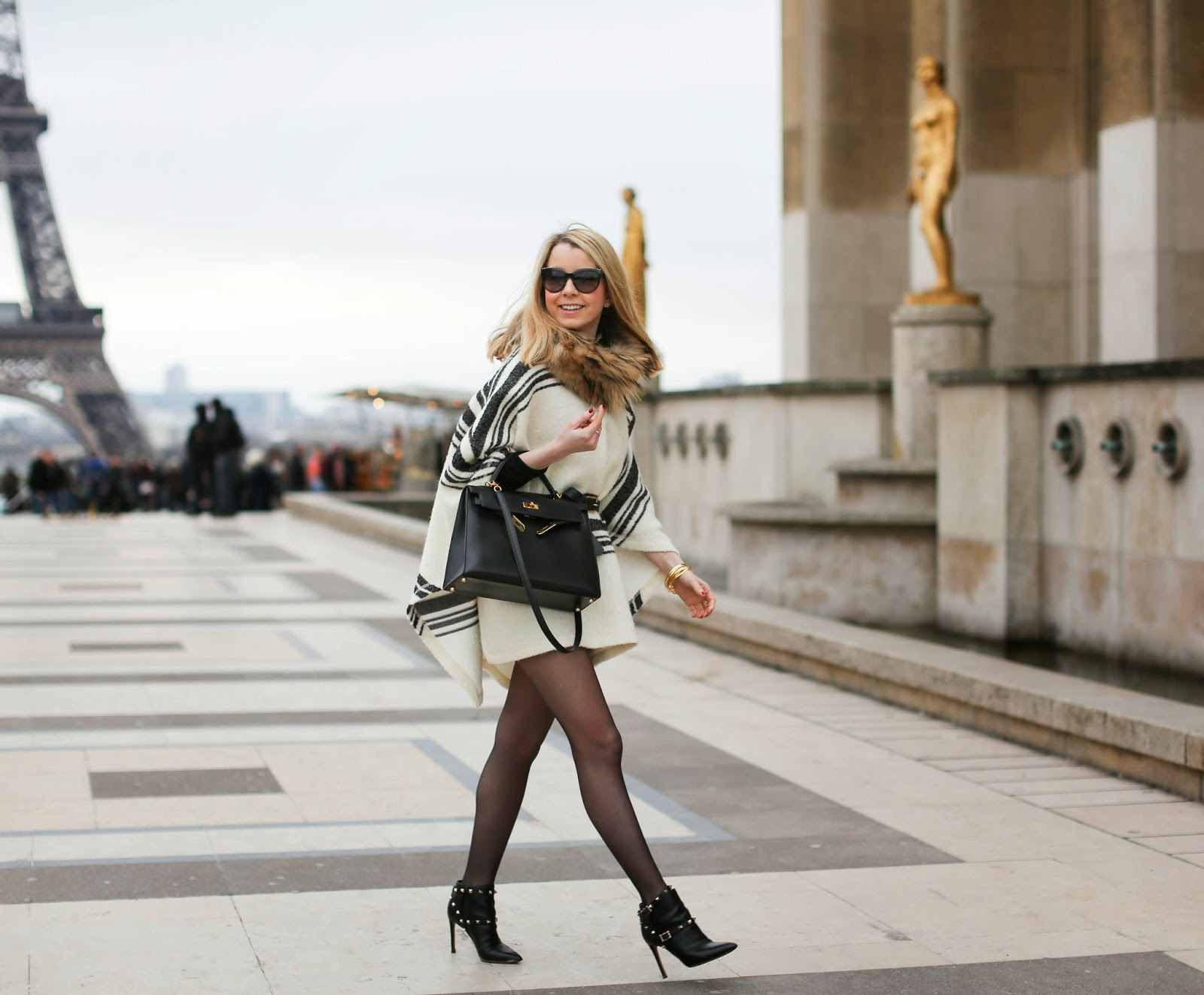 cape, zara, topshop, valentino, hermès, chanel, streetstyle, fashion blogger, paris, eiffel tower