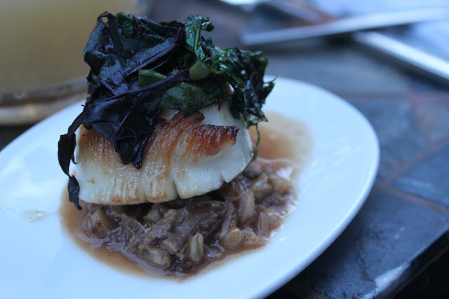 Scallop over short rib farro at Aragosta, Boston, Mass.