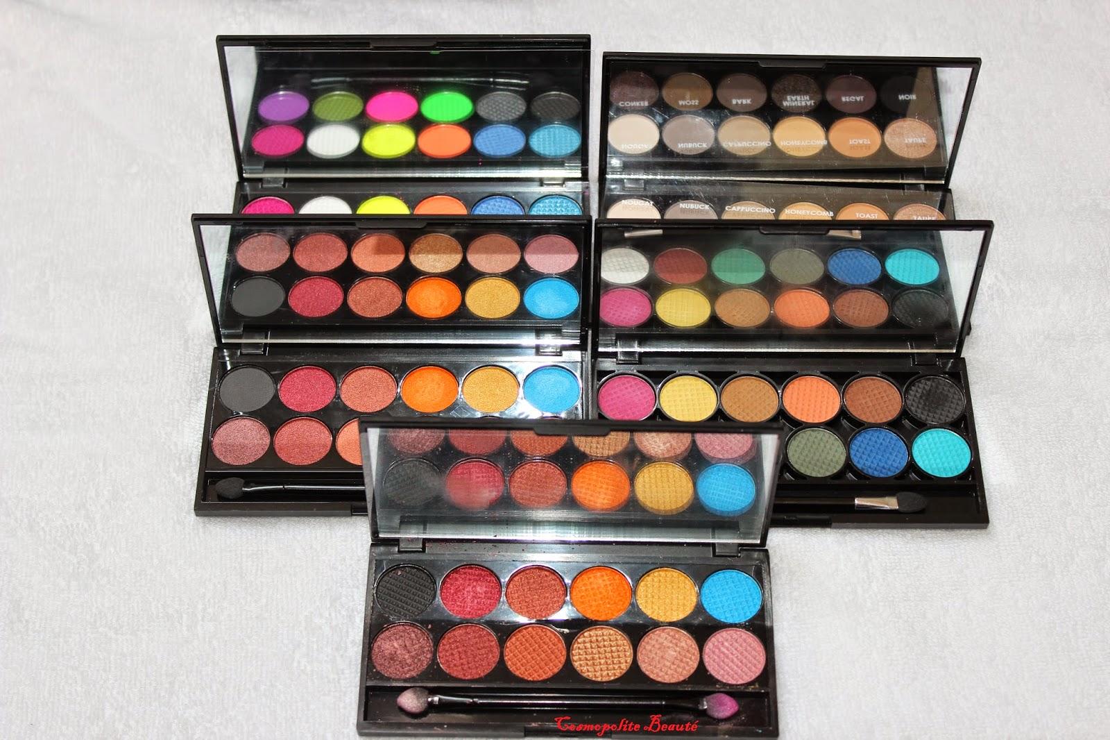 maquillage, fards à paupières, sleek, Guerlain, Shiseido, ysl, mufe, biguine, SLA, UNE, Bourjois