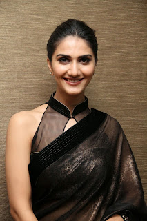 vaani kapoor new  stills in black saree(1)