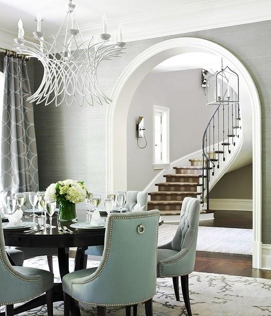 New home interior design amy bergman linda macarthur for Cortinas para comedor gris