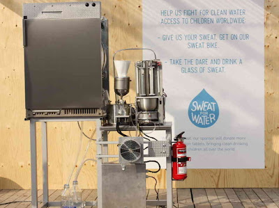 A photo from UNICEF showing the new Sweat machine that turns sweat/perspiration into drinkable water