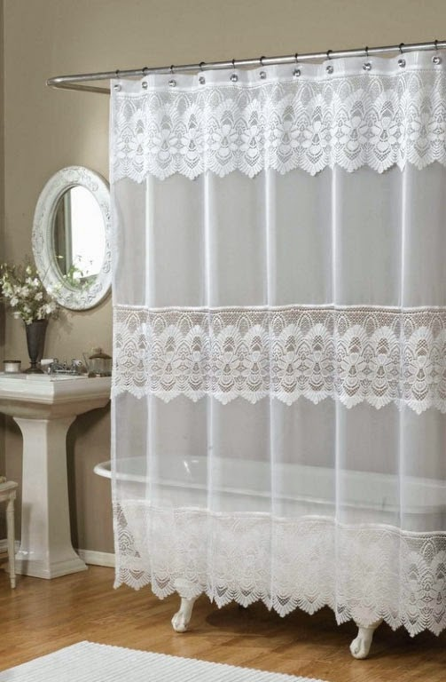 curtain ideas ricardo romance lace white lace fabric shower curtain with an attached valance. Black Bedroom Furniture Sets. Home Design Ideas