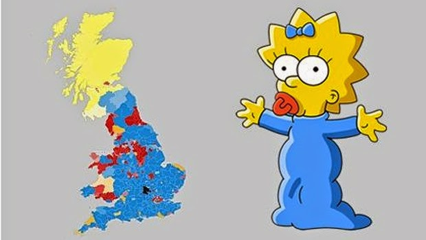Cartonerd Helecxagon Mapping - Simpons Us Map Vs Real Voters Map