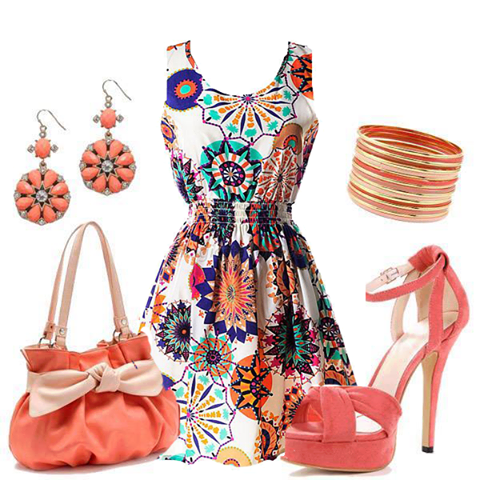Printed Dress, Hand Bag, Earrings, Ankle Strap Heels | Outfits