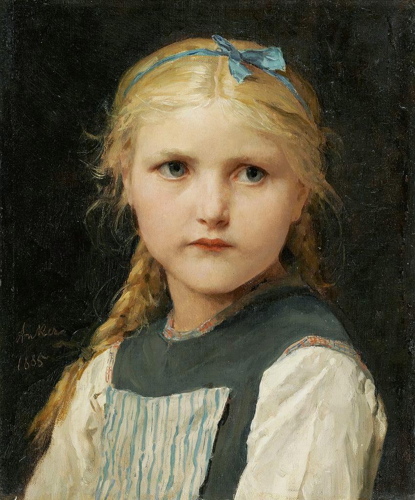 albert anker, portrait of a girl,cute girl
