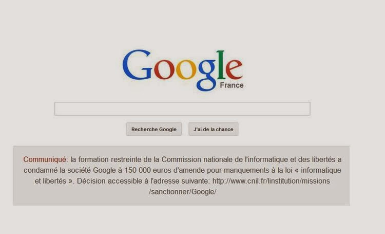 Google publie l'annonce de la sanction de la Cnil