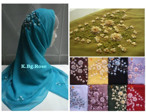 PRE-ORDER : TUDUNG SULAM BUNGA ROSE - RM 55 each