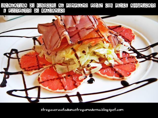 insalatina di finocchi al pompelmo rosè con pesce affumicato e ristretto di balsamico