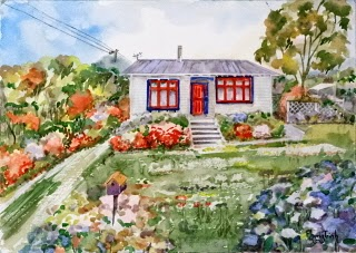 Very Charming Country Cottage with Garden (1) Watercolor on paper, 29.5x42cm