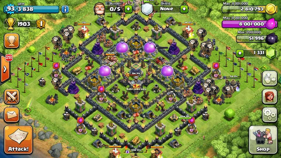 Great dark elixir protection farming bases on clash of clans 4