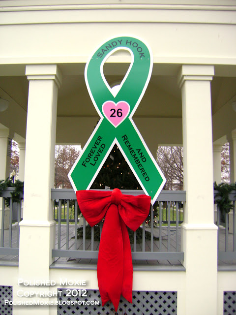 Image of large memorial ribbon for Sandy Hook.