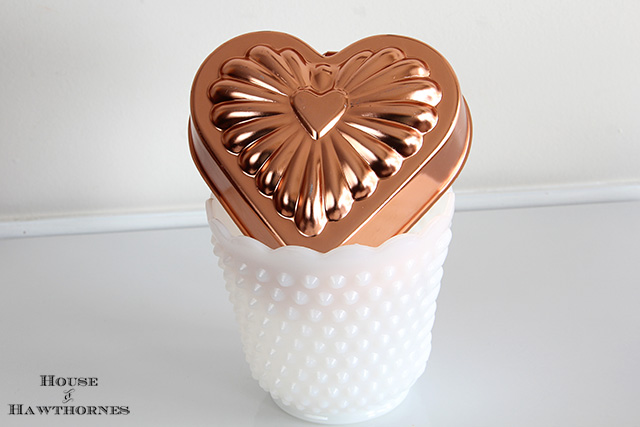 White hobnail Fire King planter and a heart shaped jello mold