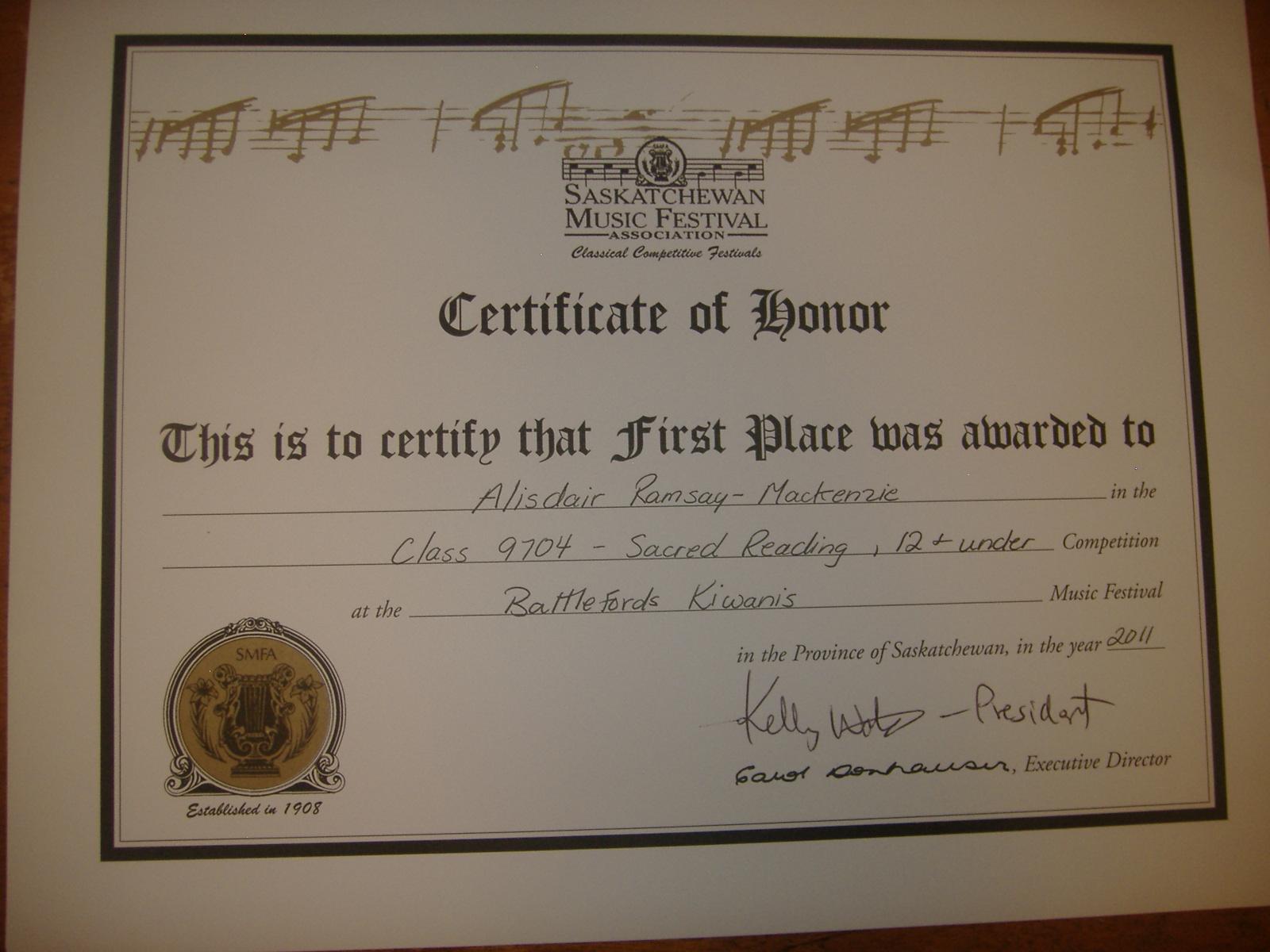First Place Certificate First place certificate