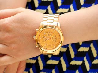 Michael Kors Oversize Golden Stainless Steel Lillie Chronograph Glitz Watch