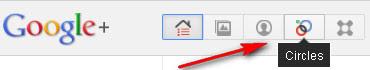 Google+: Circles button