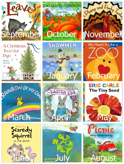 Themed preschool books and activities for each month of the year