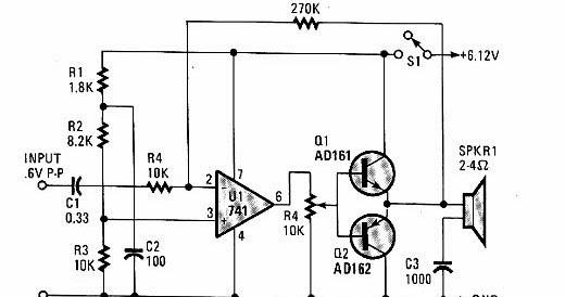 circuitos para musica  circuito amplificador con 741 bd135