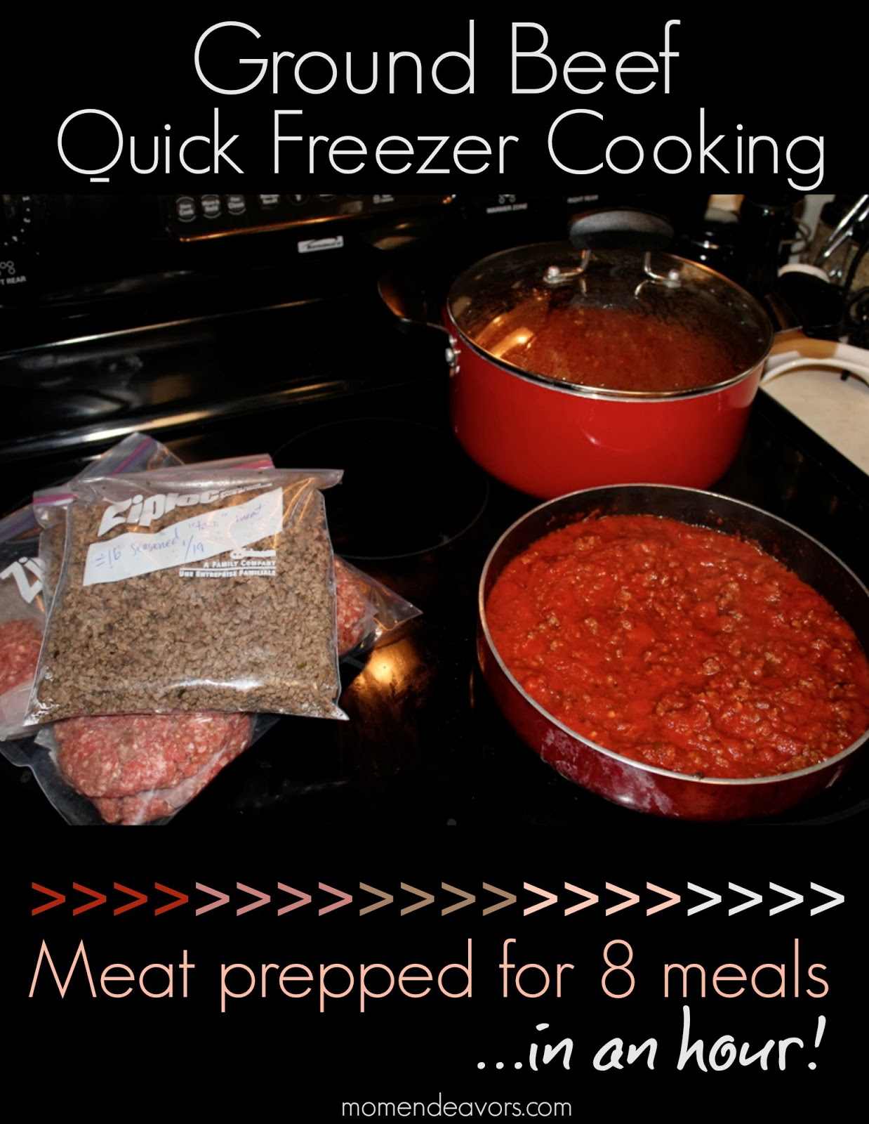 Ground Beef Quick Freezer Cooking via Mom Endeavors