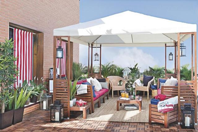 I d e a prot gete del sol y los rayos uva terraza y jard n - Sombrillas terraza ikea ...