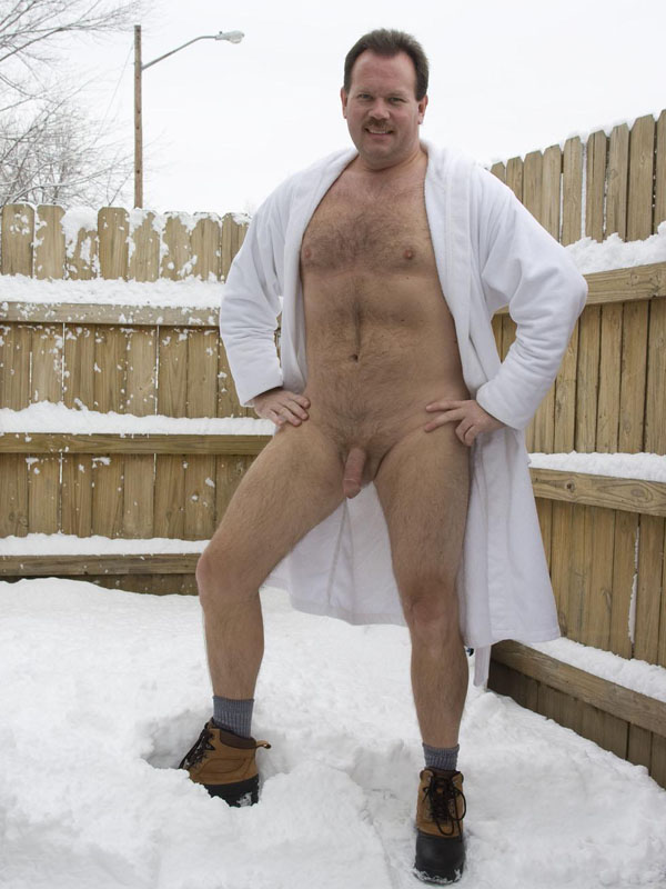 naked gay daddy - outside gay dad - cold weather gay - 