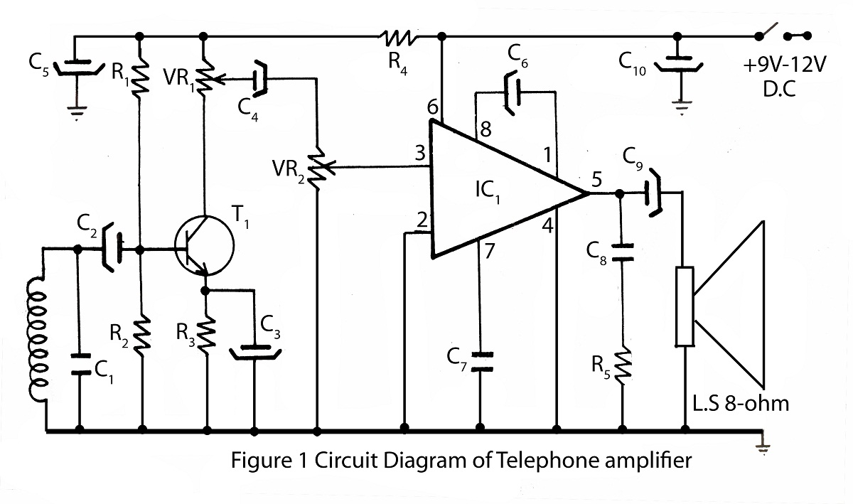 simple telephone amplifier circuit diagram