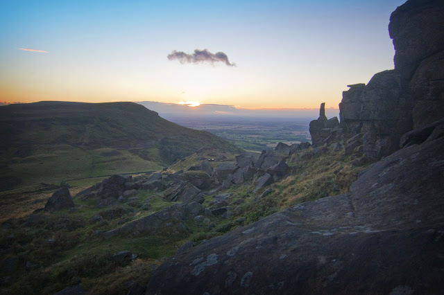 sunset over the wainstones, cleveland way, north york moors