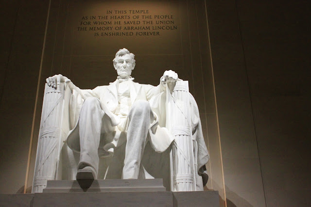 The front view of President Abraham Lincoln at Lincoln Memorial in Washington DC, USA